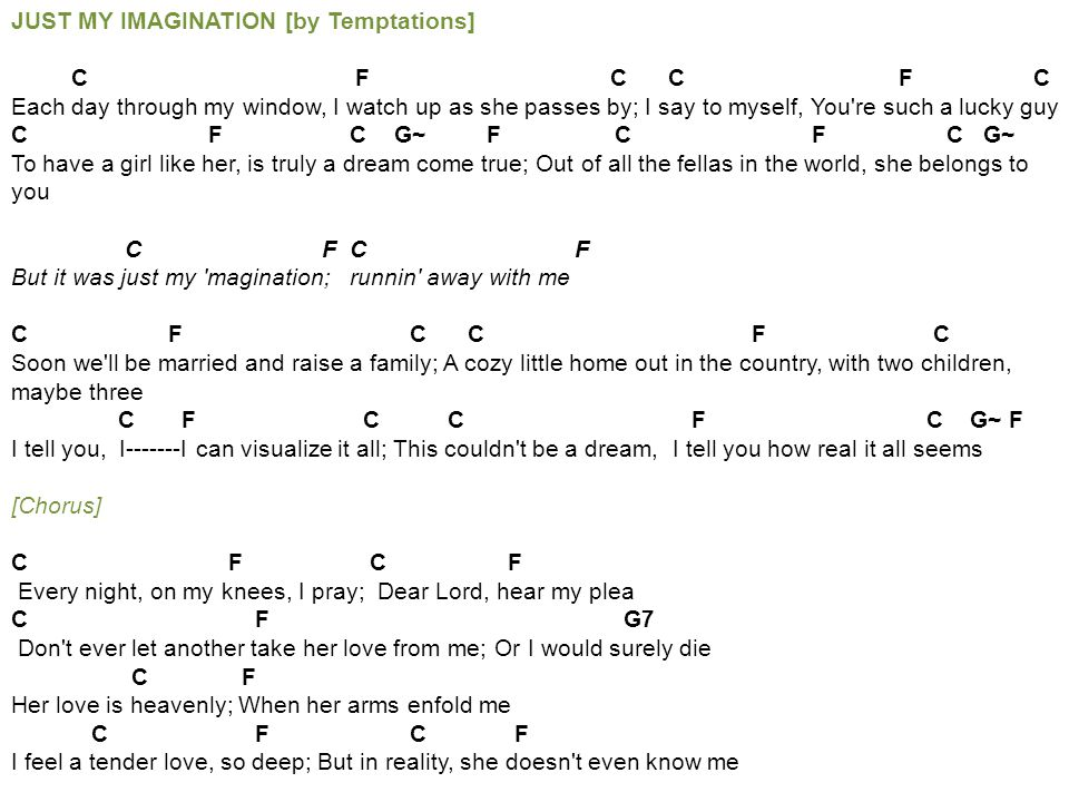 Just My Imagination Guitar Chords